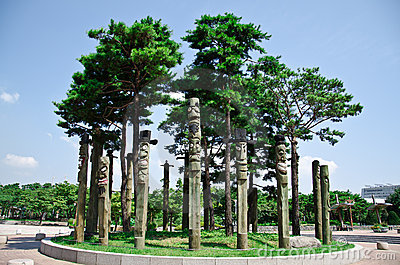 The totem poles in Pyeonghwa park - Seoul