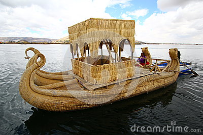Totora boat, Peru Editorial Photography