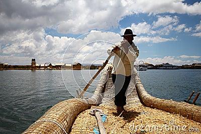 Totora boat, Peru Editorial Image
