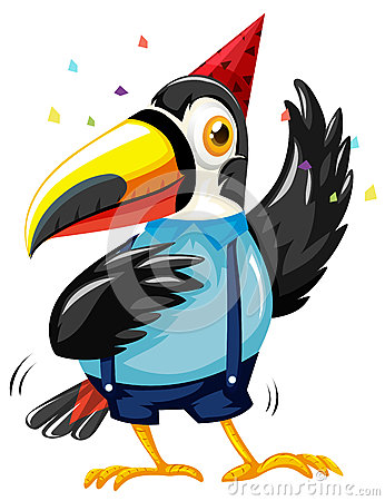 Toucan bird wearing party hat Vector Illustration