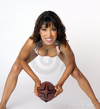 Woman Crouches Ready to Hike Touch Football