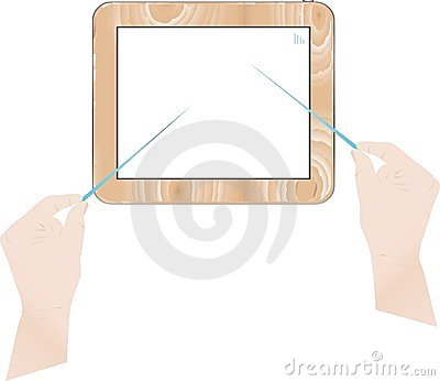 Touch pad PC and virtual buttons on women hand