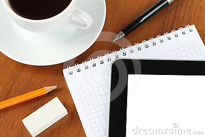 Touch screen device, notepad, pen and coffee cup