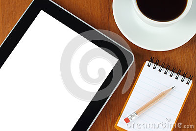 Touch screen device, notepad, pencil, coffe cup