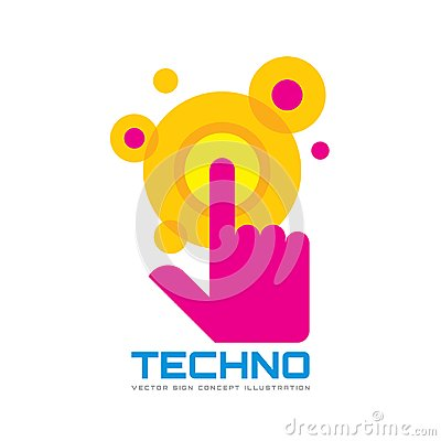Free Touch Screen Finger - Vector Logo Template Concept Illustration. Human Hand On Surface Display. Modern Mobile Technology Sign. Royalty Free Stock Photos - 100919318
