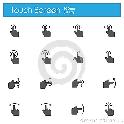 Free Touch Screen Flat Gray Icons Set Of 16 Royalty Free Stock Photos - 116903758