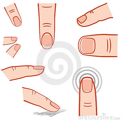 Touch screen gesture, fingers