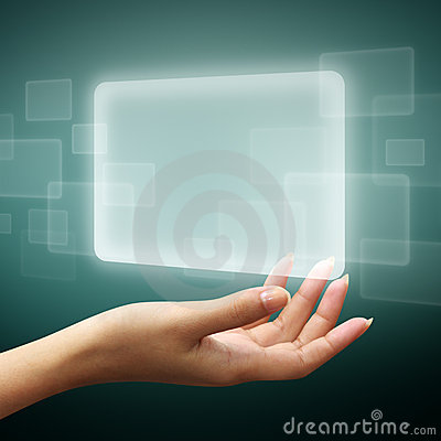 Touch screen interface on woman hand