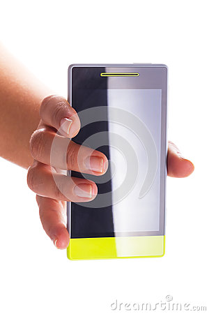 Touch screen smart phone with blank display in hand