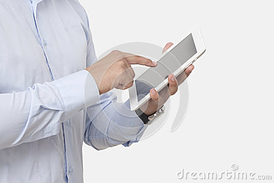 Touching the digital tablet