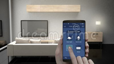 Touching IoT mobile application, Living room TV, Light bulb, Blind energy saving efficiency control, Smart home appliances, inter. Net of things vector illustration