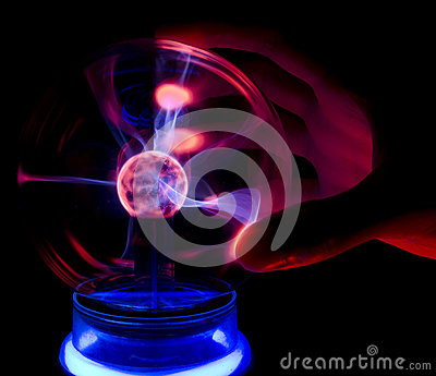 Touching a plasma lamp with five fingers