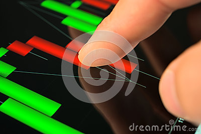 Touching screen of tablet pc with market graph