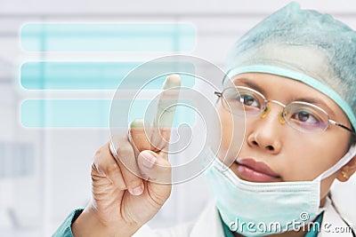 Touching virtual button screen
