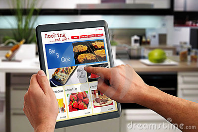 Touchpad PC Shows A Cooking Website