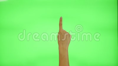 17 touchscreen gestures - female hand, on a green screen. 17 touchscreen gestures, female hand, on a green screen stock video