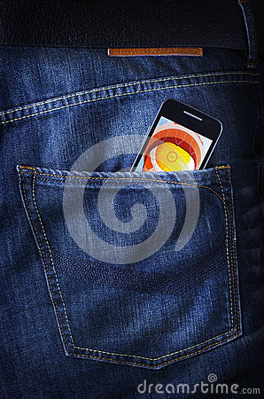Touchscreen smartphone/cellphone in jeans poket