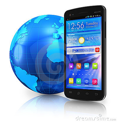 Touchscreen smartphone and Earth globe