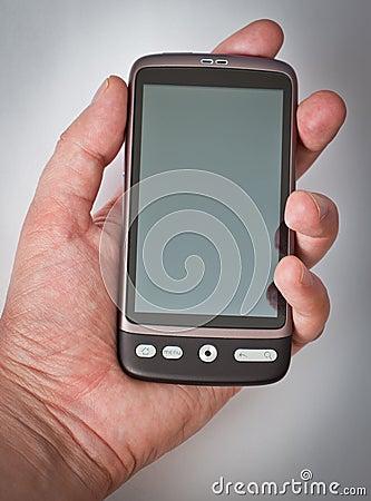 Touchscreen smartphone in hand