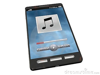 Touchscreen smartphone playing some music