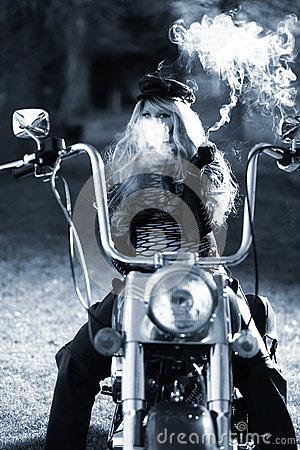 Tough Biker Woman on her Motorcycle