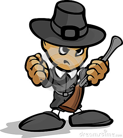 Tough Guy Pilgrim with Gun and Hat Graphic