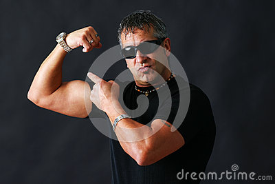 Tough guy showing off
