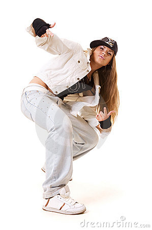 Hip Hop Dance Group Poses Tough hip hop girl in dance