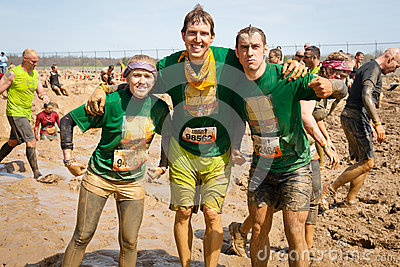Tough Mudder: Proud Team of Racers Having Fun Editorial Stock Image