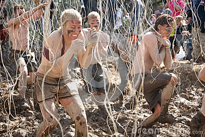 Tough Mudder: Racers in the Electric Obsticle Editorial Stock Photo