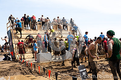 Tough Mudder: Racers Entering the Walk the Plank Editorial Photo