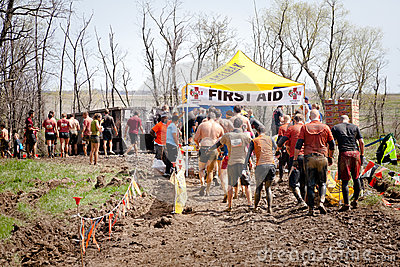 Tough Mudder: Racers at the First Aid Station Editorial Photography