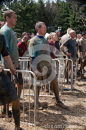 Tough Mudder: Racers Waiting for their Turn Editorial Stock Image