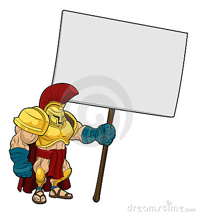 Tough Spartan or Trojan holding sign board