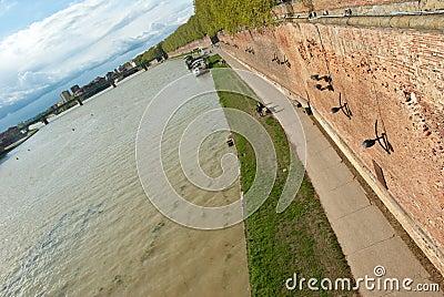 Garonne river embankment in Toulouse