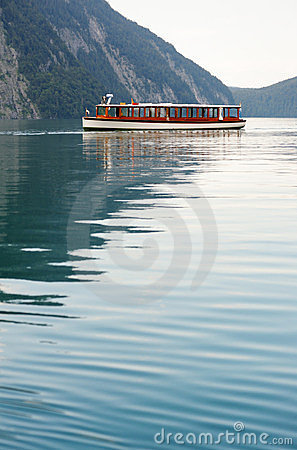 Tour boat in Konigssee lake Editorial Photo
