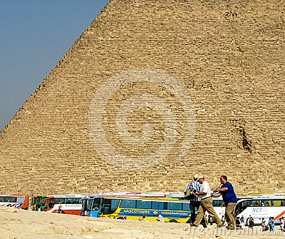 Tour buses bringing tourists to Giza. Editorial Stock Photo