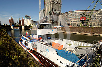 Tour der MS Wissenschaft  - exhibition ship in Duisburg Editorial Stock Image