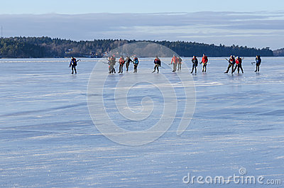 Tour skater group on smooth ice Editorial Stock Photo