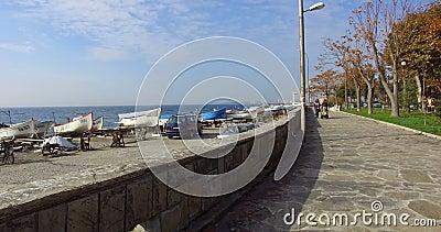 Tour of the tourist promenade in the old Pomorie, Bulgaria stock footage