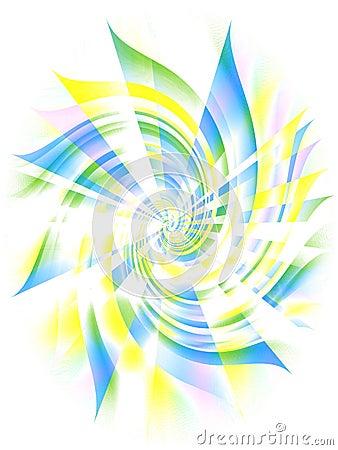 Tourbillon spiralé jaune bleu