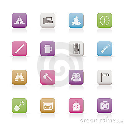 Free Tourism And Hiking Icons Stock Photography - 13824822