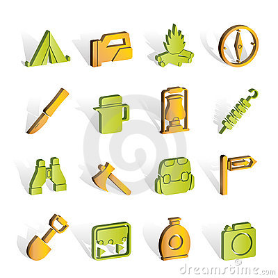 Free Tourism And Hiking Icons Royalty Free Stock Photo - 14389835