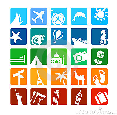 Free Tourism And Vacation Icons Stock Photo - 14646090