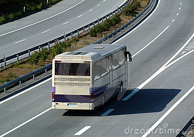 Tourism bus traveling on highway