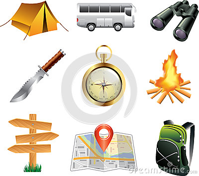 tourism and camping icons