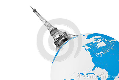 Tourism Concept. Eiffel Tower over Earth Globe