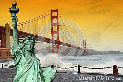 Tourism concept san francisco and statue liberty