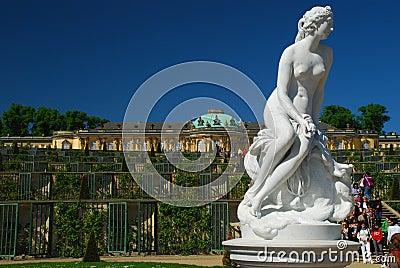 Tourism in Germany. Potsdam Sans Souci castle Editorial Stock Photo