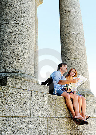 Tourism landmark couple